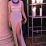 Crystal Renn, wearing Gabriela Cadena, at amfAR's New York Gala.
