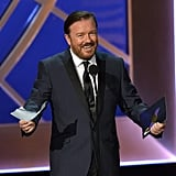 """Haha, I won. I knew I would because I am the best actor. Parsons, Cheadle, H. Macy, Joey from Friends, and Louis from Louie spelled slightly differently. Look at their stupid faces."" — Ricky Gervais, reading from his never-given acceptance speech"