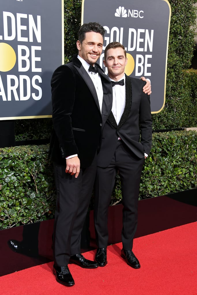 It was a family affair for James Franco at the Golden Globe Awards in LA on Monday. The actor, who is nominated for best actor in a musical or comedy for his role in The Disaster Artist, popped up at the ceremony with his younger brother, Dave. As if that wasn't exciting enough, Dave was also accompanied by his wife, actress Alison Brie, and the two were as cute as can be while posing for pictures together. Clearly, good looks run in this family.