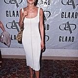 A White Cotton Dress With Peep-Toe Heels