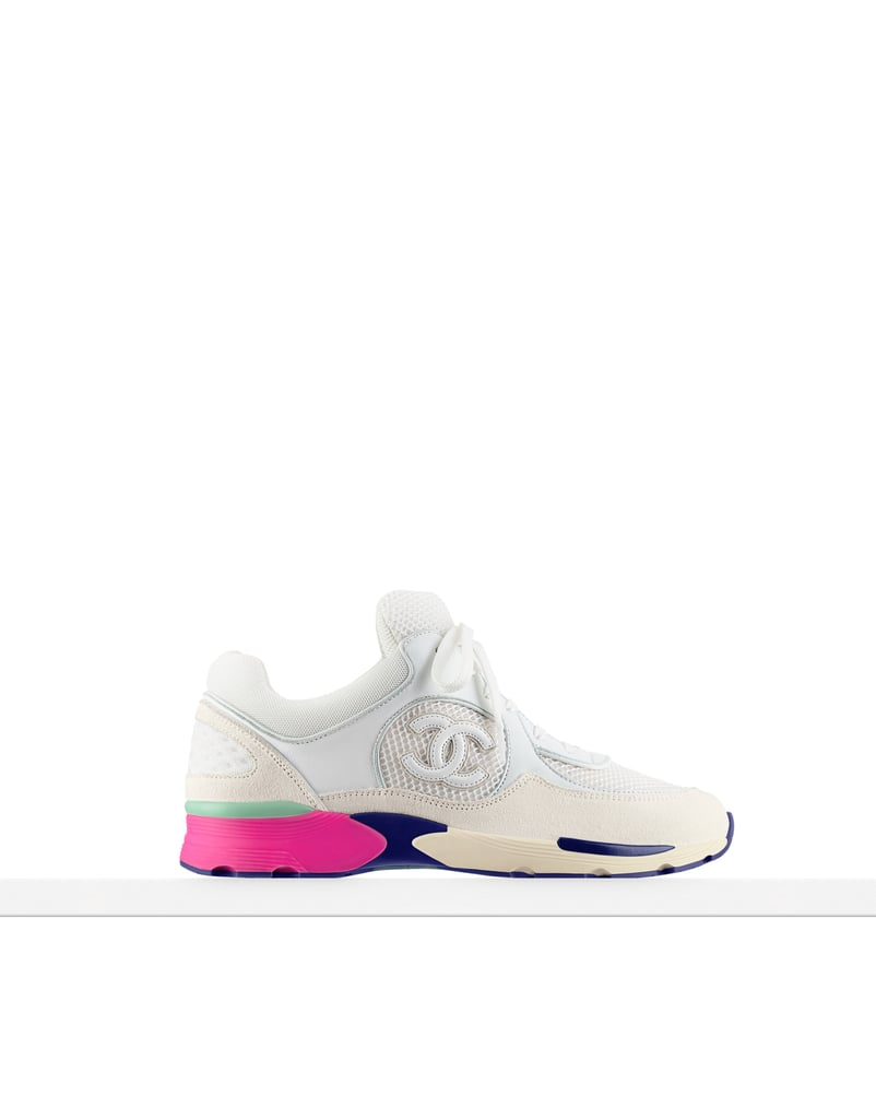 Chanel Fabric and Suede White Calfskin Sneakers ($950)