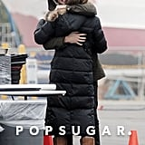 Joshua Bowman hugged Emily VanCamp while on set on Thursday.