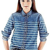 If you already have a chambray button-down, it may be time to buy this Joe Fresh stripe dyed denim shirt ($29) for a new take.