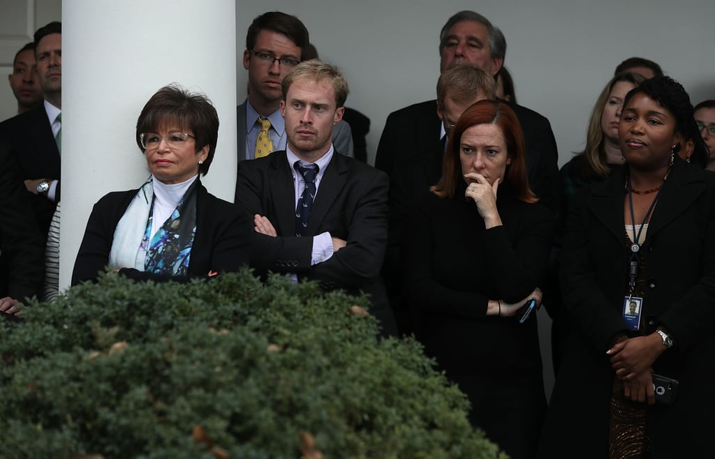 While President Obama appeared assuring and hopeful during his Wednesday speech following Donald Trump's unexpected win, his staff might not have felt the same way. While we don't know exactly what was going through their minds, the pictures taken at Rose Garden show many members of the White House staff looking, well, sad. The internet has since become fascinated with the pictures, which seem to represent how many voters are feeling after Trump's surprising victory. The photos depict major players like Senior Adviser Valerie Jarrett, Press Secretary Josh Earnest, Communication Director Jen Psaki, and National Security Adviser Susan Rice. Many people on Twitter have stated that the photos were from the president's first meeting with Trump on Thursday, Nov. 10, when they were actually taken during his speech on Wednesday, Nov. 9. Regardless, the chilling emotion radiating from the pictures can be felt.      Related:                                                                This Viral Humans of NY Quote of President Obama Discussing Failure Is What We All Need to Read                                                                   Here's How Bernie Sanders Responded to Donald Trump's Presidential Win                                                                   It's Time to Wipe Our Tears and Roll Up Our Sleeves
