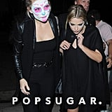 Kate Hudson sported Dia de los Muertos face paint as she arrived with pal Ashley Benson.