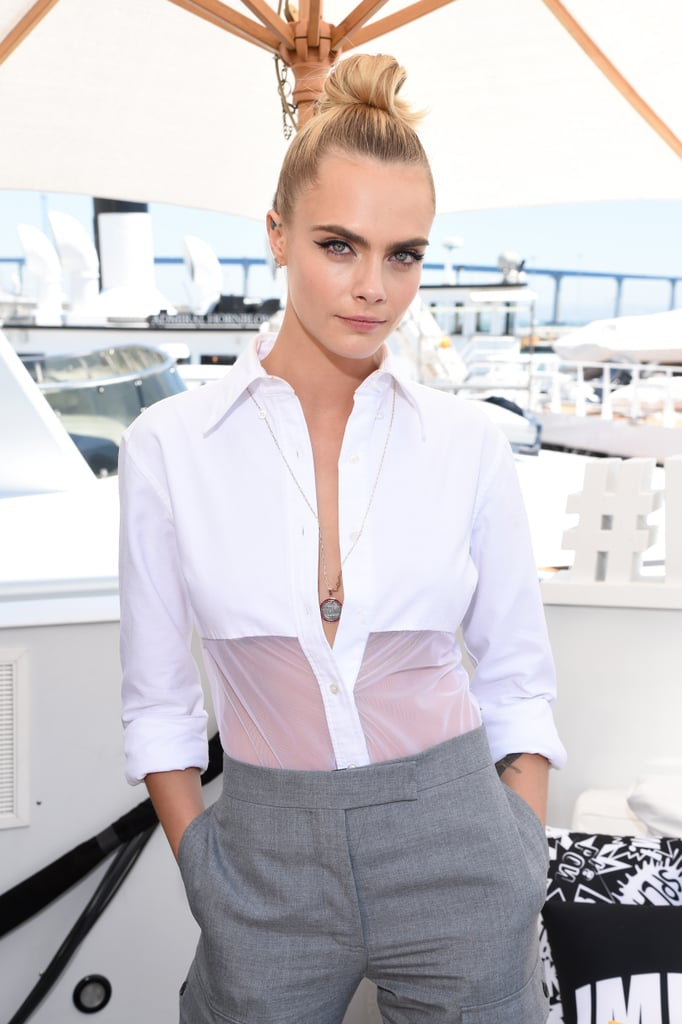 Cara Delevingne's Denim Eyeliner and Topknot Comic-Con 2019