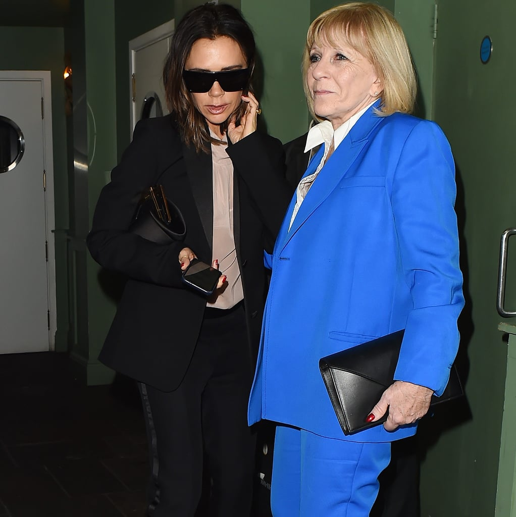 Victoria Beckham and Her Mom in Suits 2018