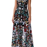ML Monique Lhuilier Floral Embroidered Mesh Dress