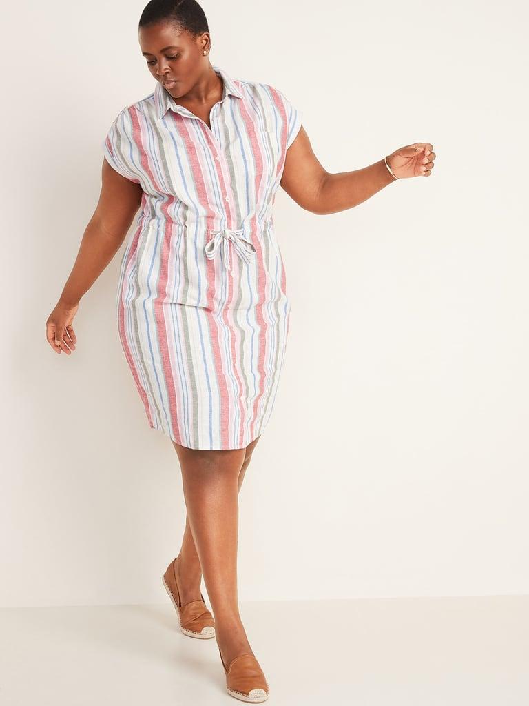 Old NavyLinen-Blend Cinch-Tie No-Peek Plus-Size Shirt Dress