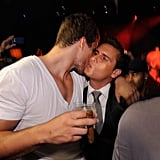 Kris Humphries and Scott Disick shared a kiss on the cheek.