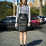 Leather took on a more seasonal feel with the help of a bold-striped top and sandals. Source: Le 21ème   Adam Katz Sinding