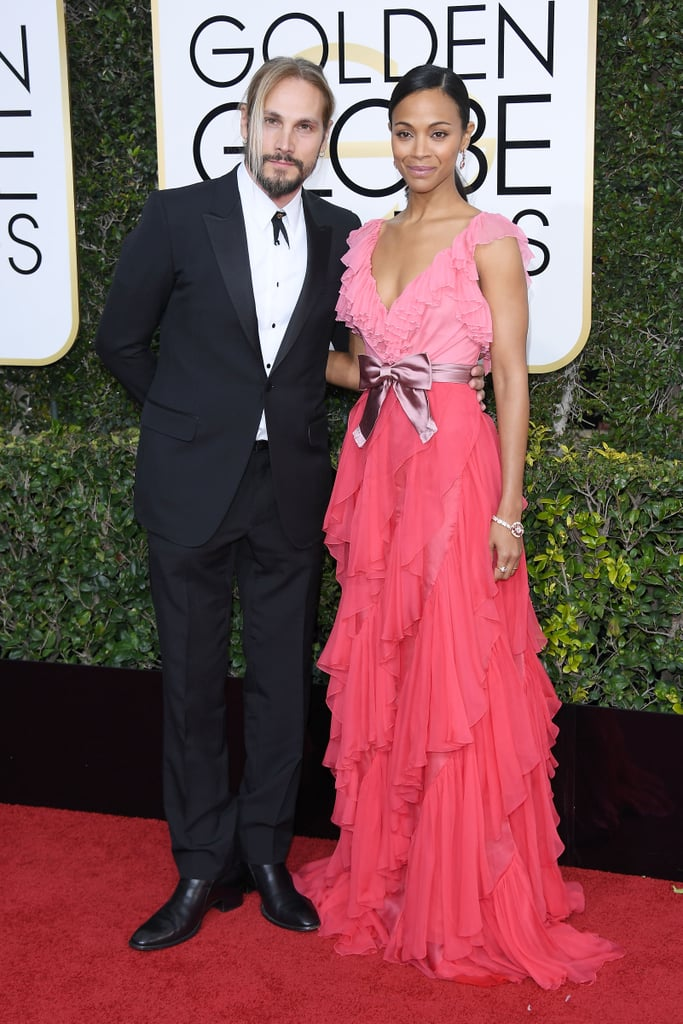 Zoe Saldana and Marco Perego at the 2017 Golden Globes