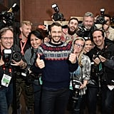 James Franco had fun with photographers.