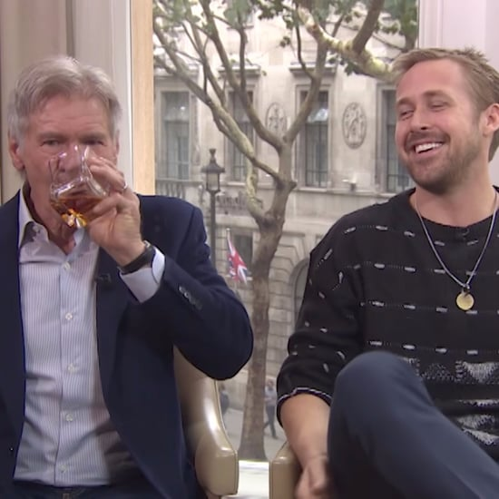 Ryan Gosling and Harrison Ford Laughing During an Interview