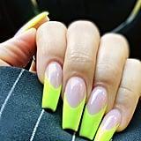 Khloé Kardashian's Neon French Manicure
