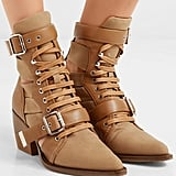 Chloé Rylee Cutout Leather and Canvas Ankle Boots