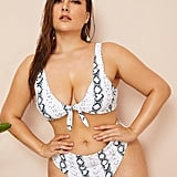 Shein Plus Snakeskin Knot-Top With High-Waist Bikini