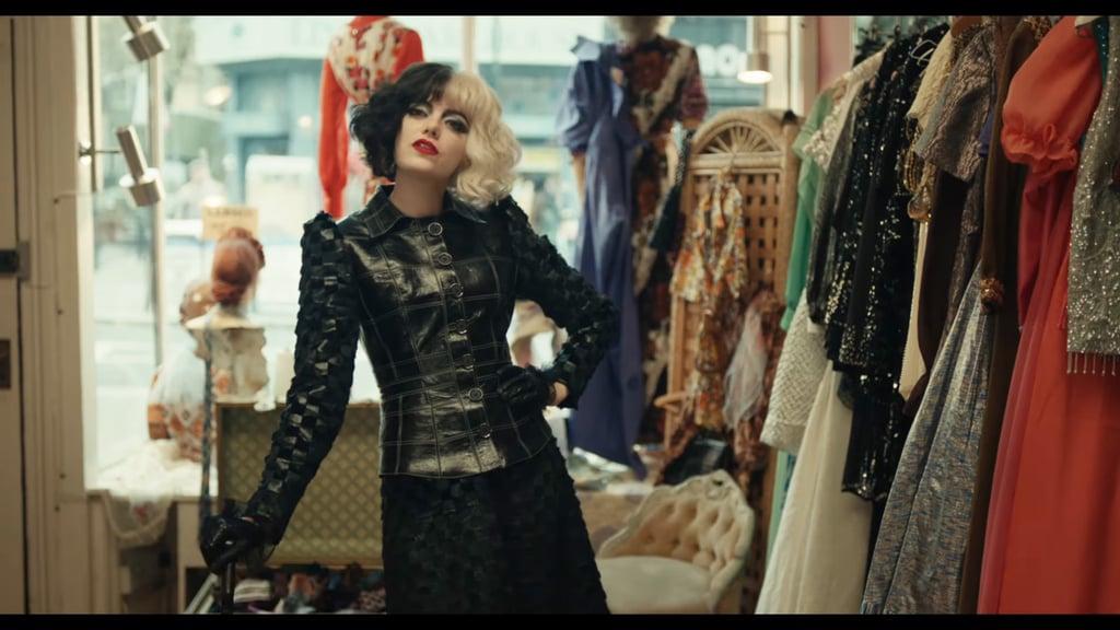 Emma Stone's Black Leather Jacket in Disney's Cruella Trailer