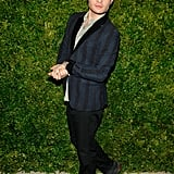 Man of style Ed Westwick kept it cool in a striped blazer.