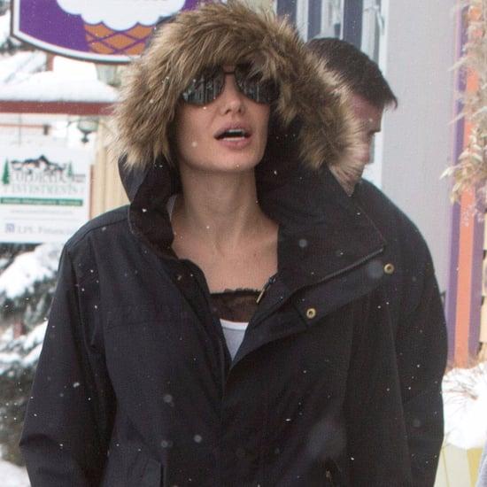 Angelina Jolie Shearling Parka Jacket in Colorado Jan. 2017