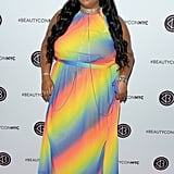 Lizzo could have worn anything to the 2018 Beautycon festival, but she chose this rainbow ombré high-neck dress and completed the look with a mesmerising body necklace.