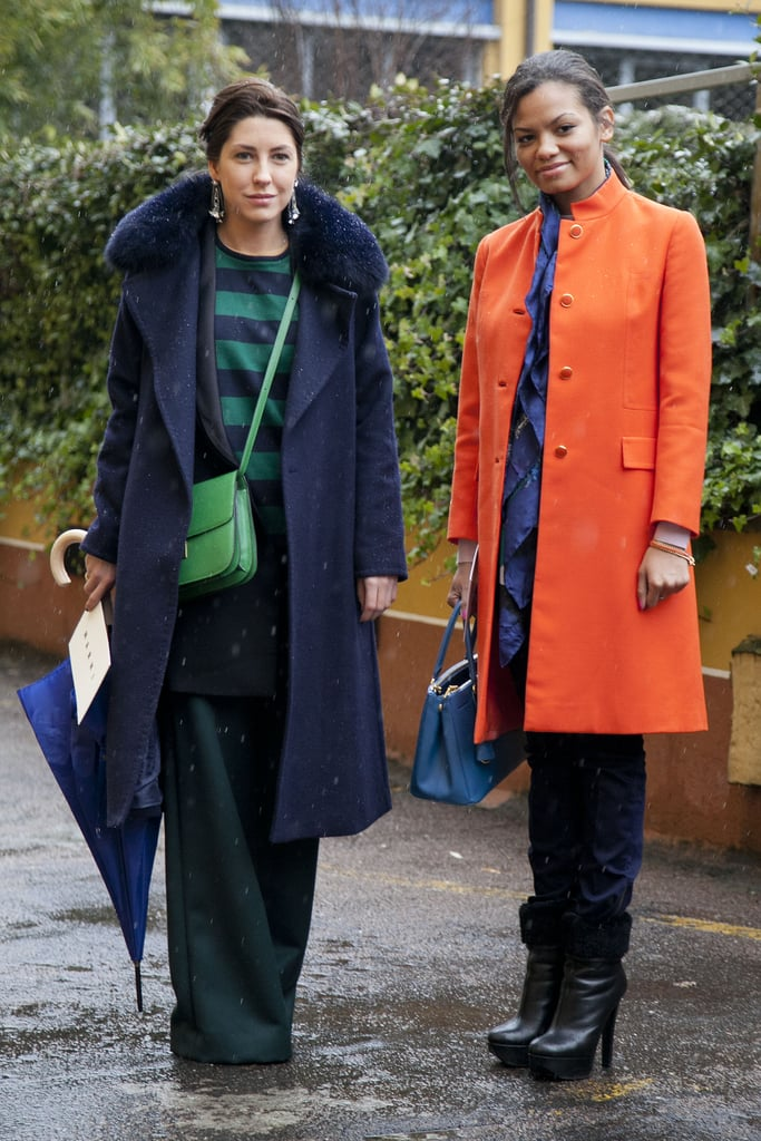High-wattage hues made this duo pop on the streets of Milan.