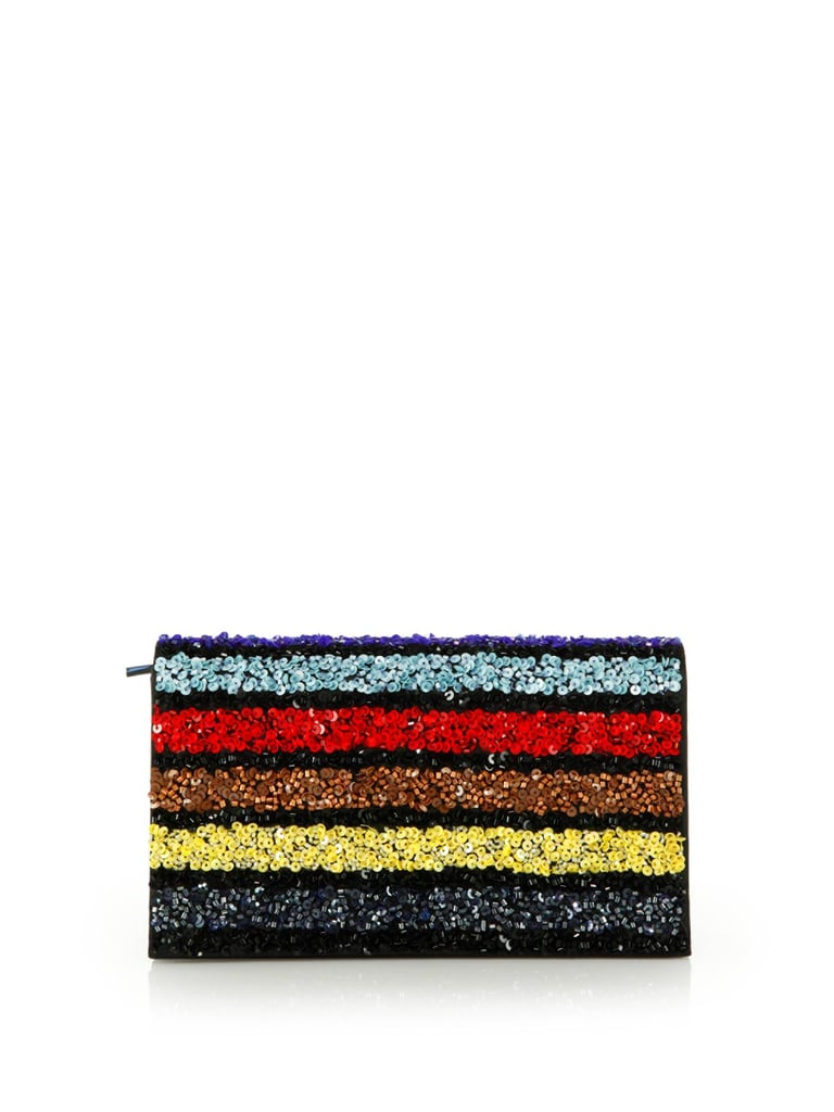 Alice + Olivia Multi-Stripe Sequin Clutch