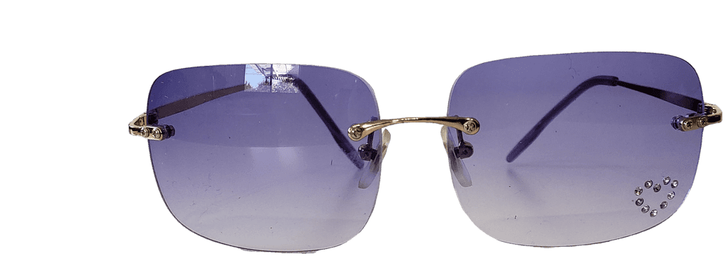 Square Purple Sunglasses With Jewelled Heart