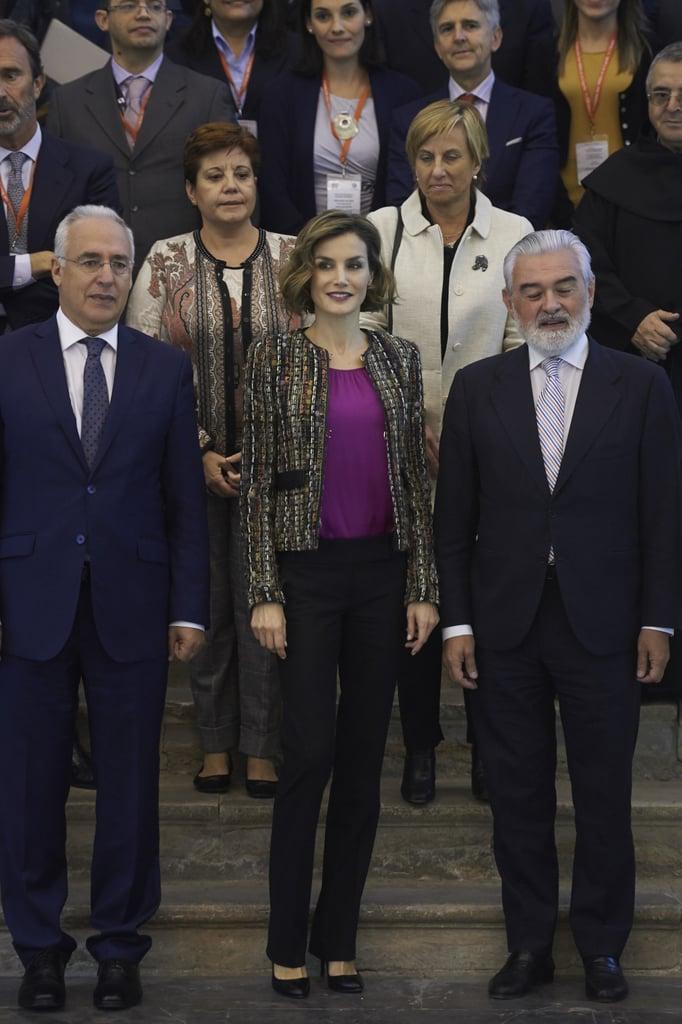 Queen Letizia wore her favorite beaded neutral-toned blazer to the International Seminar of Language and Journalism in San Millan de la Cogolla, Spain, in October 2015.