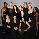 Pictured: Natalie Portman, Michelle Williams, America Ferrera, Jessica Chastain, Amy Poehler, Meryl Streep, Ai-jen Poo, and Saru Jayaraman