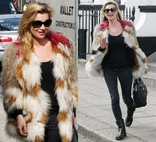 Photos of Kate Moss in a Multi Coloured Fur Jacket in West London