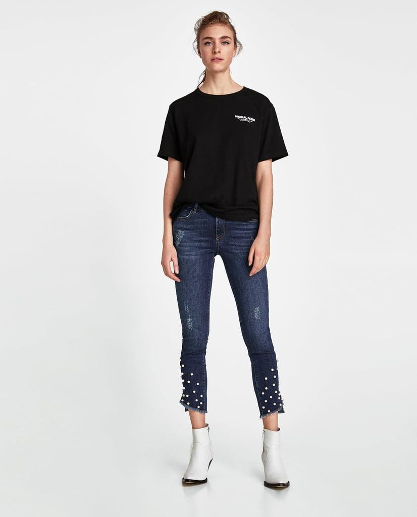 Zara Pearl Hem Jeans