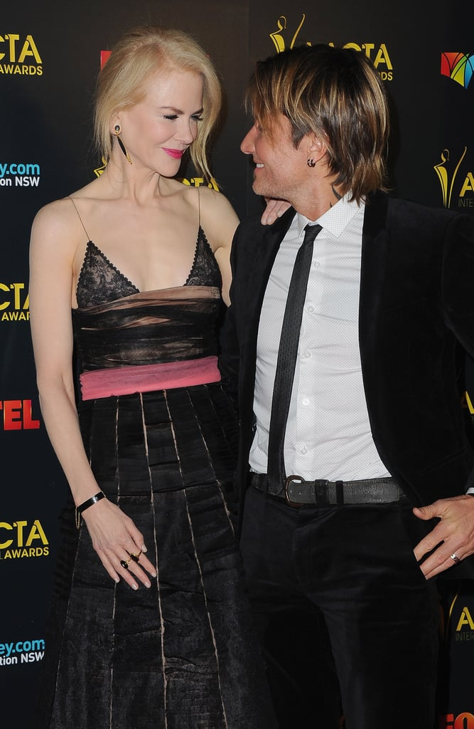 """Keith Urban was on hand to support his wife, Nicole Kidman, at the 6th annual AACTA International Awards in LA on Friday night. The couple put on an affectionate display when they hit the red carpet at the Australian event, which celebrates the best films, performances, and filmmakers from around the world. It was an especially big night for Nicole, who took home an award for best supporting actress for her role in Lion. During her speech, Nicole gave Keith a sweet shout-out, saying, """"And to the most beautiful man I've ever met, Keith Lionel Urban. He's got a gypsy heart, and travels the world where I go.""""  Earlier this week, Nicole spoke about what she and Keith tell their kids when they want to have sex during an interview with The Moms' Denise Albert and Melissa Musen Gerstein, saying, """"[We tell them] Mommy and Daddy need to have kissy-kissy time."""" Now if only we could find someone to look at us the way Keith looks at Nicole."""