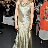 Kylie Minogue sparkled in a shimmery gold Stella McCartney creation.