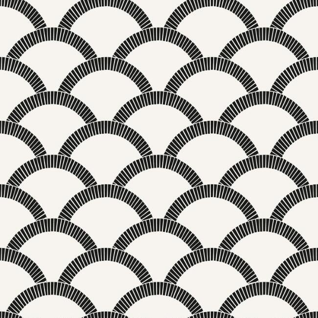 Black And Off White Scallop Peel And Stick Wallpaper Best