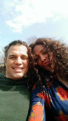 Zoe Saldana snapped a photo of herself with Mark Ruffalo on the set of their new flick. Source: Twitter user zoesaldana