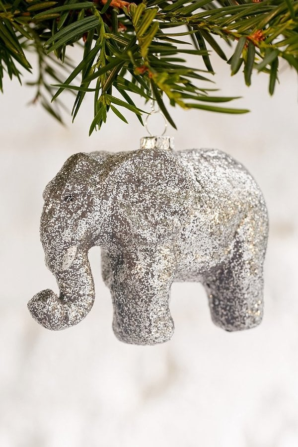 Urban Outfitters Elephant Glitter Ornament ($10)