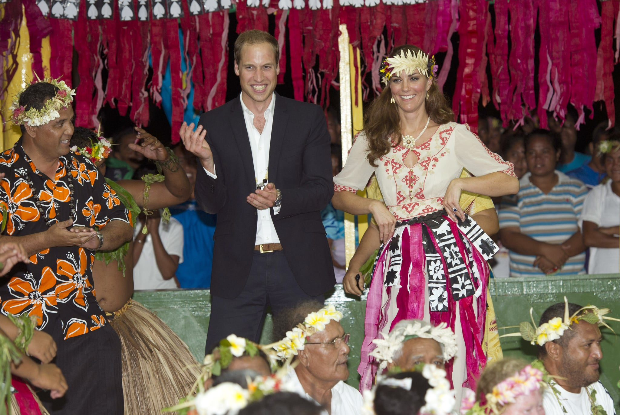 William and Kate flashed big smiles on day eight of their 2012 tour for the queen's Diamond Jubilee.