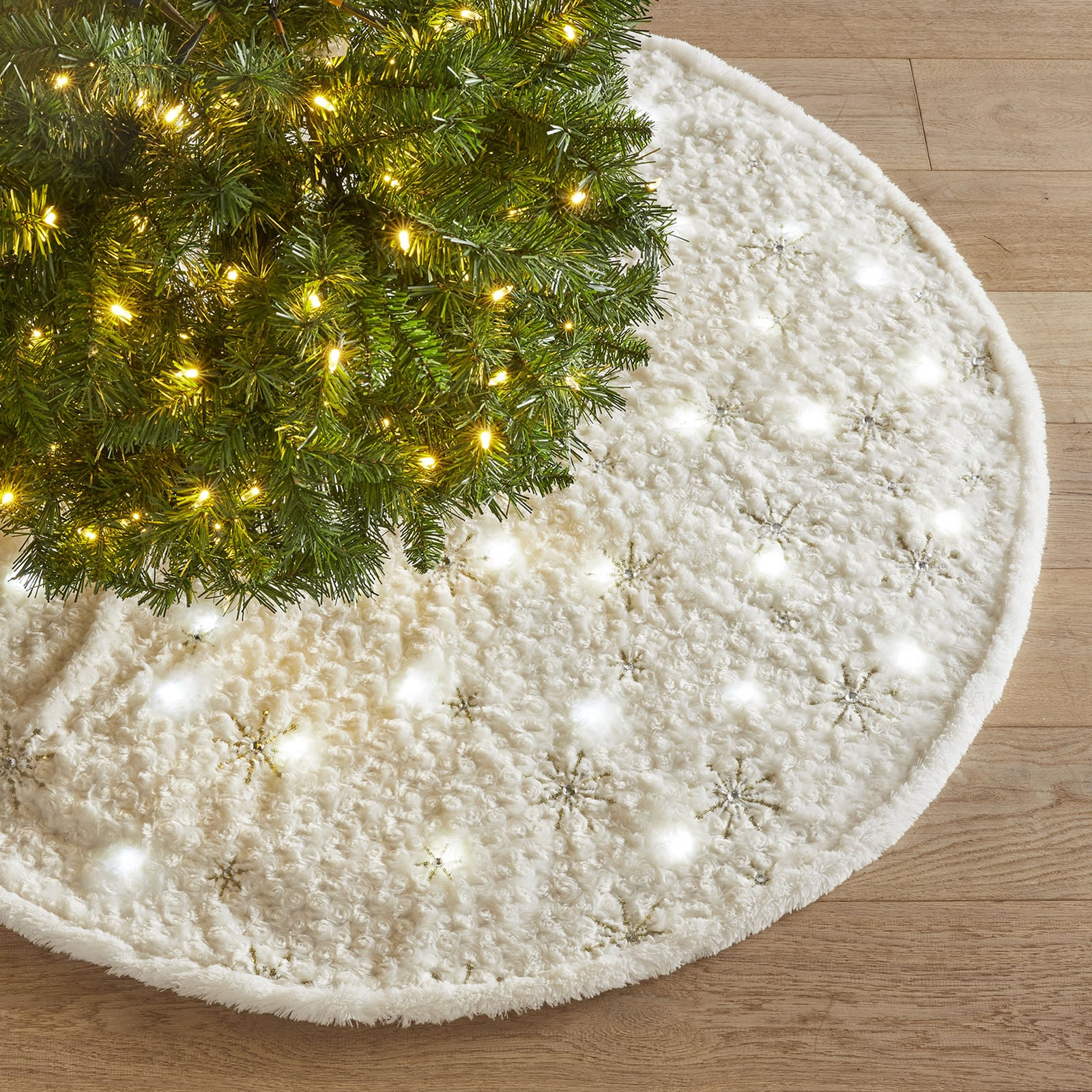 Light Up Fuzzy Snowflake Tree Skirt 27 Unique Christmas Tree Decorations Guaranteed To Spark Holiday Cheer Popsugar Family Photo 27