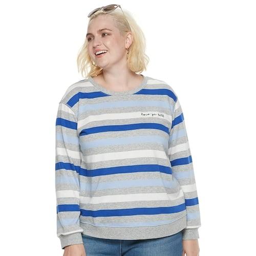 "POPSUGAR Plus Size ""Love Ya Self"" Striped Sweater"