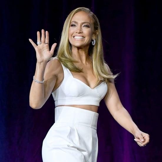 Jennifer Lopez's Football Clutch at Super Bowl Press Event