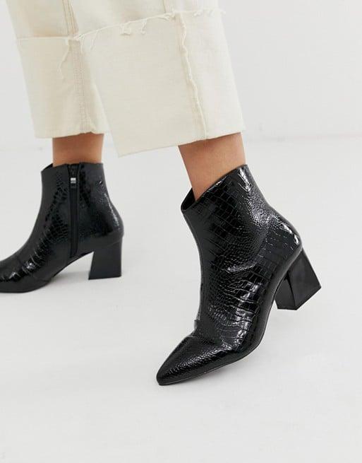 f9872b0efb6 RAID Amisha Black Croc Effect Boots   Best Black Boots For Women ...