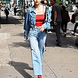 Gigi wore denim on denim back in June 2017 with a jean jacket and Re/Done's kick flares combination.