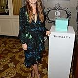 Jessica Biel posed with a Tiffany & Co. display.