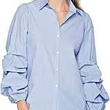 Lark & Ro Woven Shirt With Pintucked Sleeve