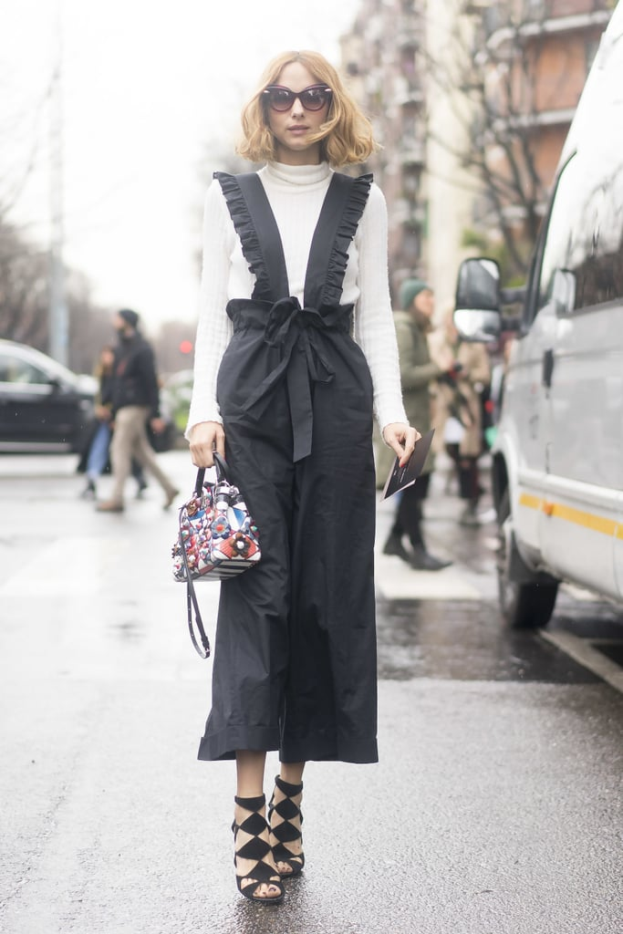 A Cream Turtleneck, a Ruffled Jumpsuit, and Caged Heels