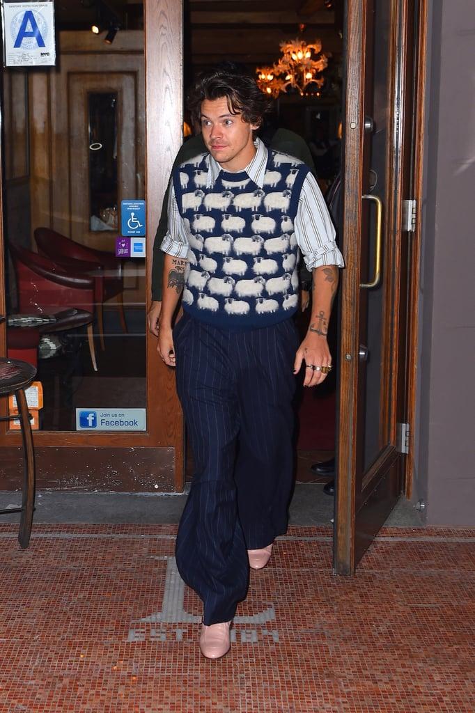 Harry Styles Wearing a Lanvin Sheep-Print Sweater Vest