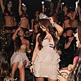 Kim Kardashian danced with the club full of her friends and fans.