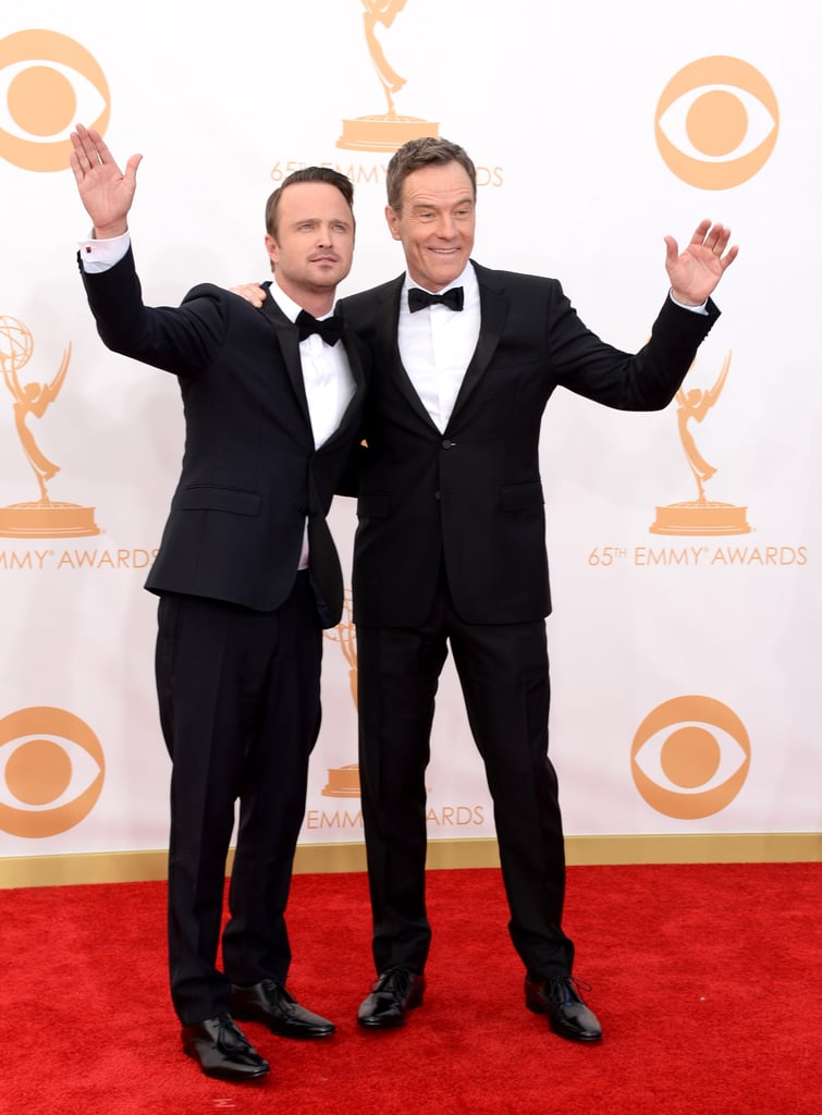 Aaron Paul and Bryan Cranston buddied up on the red carpet.
