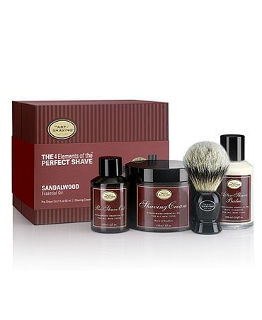 I believe that a man should really luxuriate in shaving every day, and The Art of Shaving Silvertip Badger brush kit in sandalwood ($210) is the best way to stock all of your shaving needs. The silvertip brush will exfoliate your skin, while the aftershave cream will keep your face feeling soft all day long in a scent that is classically masculine. 